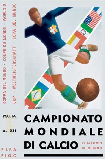 Poster Svjetskog nogometnog prvenstva održanog u Italiji 1934. godine