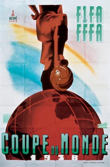 Poster Svjetskog nogometnog prvenstva održanog u Francuskoj 1938. godine